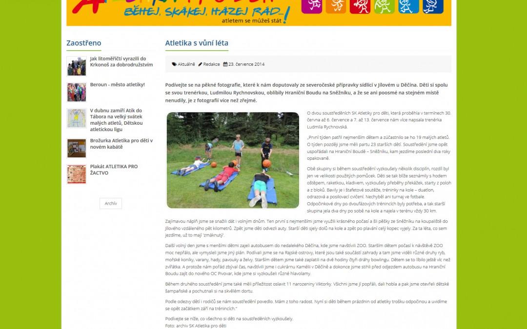 Atletika pro děti - Zpravodajství